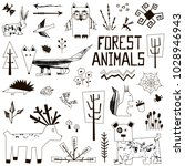 set of hand drawn forest... | Shutterstock .eps vector #1028946943