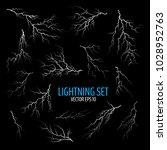 set of different white cracks... | Shutterstock .eps vector #1028952763