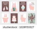 cute pink lamas hand drawn... | Shutterstock .eps vector #1028953327