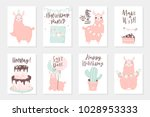 cute pink lamas hand drawn... | Shutterstock .eps vector #1028953333