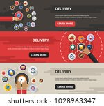 delivery flat icon concept.... | Shutterstock .eps vector #1028963347