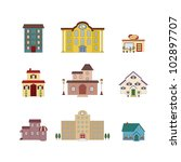 cartoon isolated buildings | Shutterstock . vector #102897707