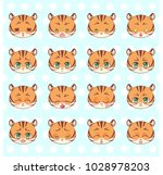 emoticons  emoji  smiley set ... | Shutterstock .eps vector #1028978203