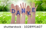 word danke means thank you on... | Shutterstock . vector #1028991607