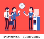 office cooler chat. young male... | Shutterstock .eps vector #1028993887