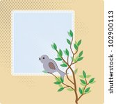card with bird on branch with... | Shutterstock .eps vector #102900113