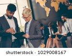 businessman and businesswoman... | Shutterstock . vector #1029008167