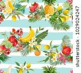 seamless tropical fruits... | Shutterstock .eps vector #1029024247