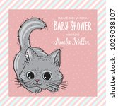 baby shower card template with...   Shutterstock .eps vector #1029038107
