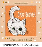 baby shower card template with...   Shutterstock .eps vector #1029038263