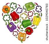 heart of purple  red  orange ... | Shutterstock .eps vector #1029040783