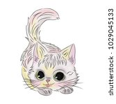 watercolor kitten isolated on...   Shutterstock .eps vector #1029045133
