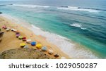 umbrellas with sunbeds ... | Shutterstock . vector #1029050287