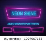 realistic neon vector font on... | Shutterstock .eps vector #1029067183