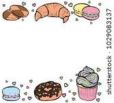 desserts frame. colorful hand... | Shutterstock .eps vector #1029083137