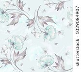 seamless peony pattern with... | Shutterstock . vector #1029084907