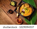 egg noodle in chicken curry ... | Shutterstock . vector #1029094537