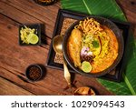 egg noodle in chicken curry ... | Shutterstock . vector #1029094543