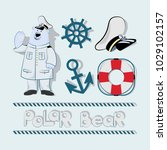 polar bear and marine elements... | Shutterstock .eps vector #1029102157