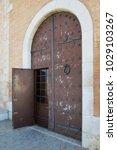 ancient engraved wooden  doors... | Shutterstock . vector #1029103267