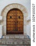 ancient engraved wooden  doors... | Shutterstock . vector #1029103327