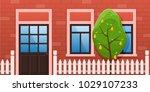 modern city facade of a... | Shutterstock .eps vector #1029107233