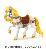 white magic horse saddled for...