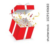 opened gift box with  bow and... | Shutterstock .eps vector #1029140683