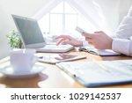 hands of businesswoman  working ... | Shutterstock . vector #1029142537