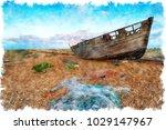 watercolour painting of dusk...   Shutterstock . vector #1029147967