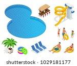 isometric set icons of summer... | Shutterstock .eps vector #1029181177