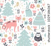 seamless pattern with cute... | Shutterstock .eps vector #1029186367