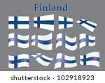 set of flags of finland vector...