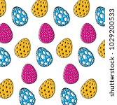 decorative easter eggs...   Shutterstock .eps vector #1029200533