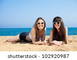 young girls on vacation by the... | Shutterstock . vector #102920987