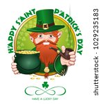 red bearded cartoon leprechaun... | Shutterstock .eps vector #1029235183