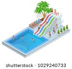 isometric aqua park with water... | Shutterstock .eps vector #1029240733