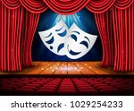 happy and sad theater masks ... | Shutterstock .eps vector #1029254233