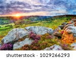 watercolour painting of sunset...   Shutterstock . vector #1029266293