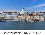 Helsinki cityscape with Helsinki Cathedral, South Harbor and Market Square (Kauppatori), Finland