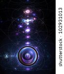 The Incubator abstract science fiction flame fractal background design - stock photo