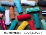 close up of rolled colorful... | Shutterstock . vector #1029319237