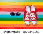 spring mood clothes  gumshoes... | Shutterstock . vector #1029347653