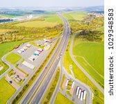 aerial view of highway rest... | Shutterstock . vector #1029348583