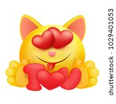 yellow emoji cartoon cat... | Shutterstock .eps vector #1029401053