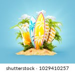 surf boards on paradise island...   Shutterstock . vector #1029410257