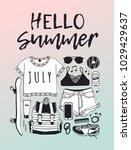 hand drawn summer pattern.... | Shutterstock .eps vector #1029429637