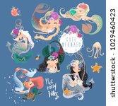 the set of cute  beautiful... | Shutterstock .eps vector #1029460423