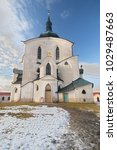 Small photo of ZDAR NAD SAZAVOU, CZECH REPUBLIC - February 4, 2018: UNESCO, The Pilgrim Church of St. John of Nepomuk on Zelena Hora near Zdar nad Sazavou on February 4, 2018 in Czech Republic