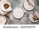 empty plate white linen napkin... | Shutterstock . vector #1029520747